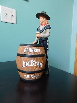 Cowgirl Dressed in Black w/Whiskey Barrel, Jim Beam Barware