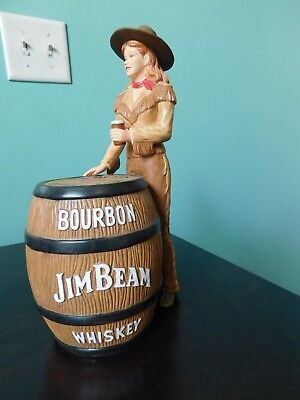 Cowgirl Dressed in Brown w/Whiskey Barrel, Jim Beam Barware
