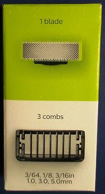 Philips Norelco Oneblade Replacement (1) Blade w/3 Combs  *New *Free Shipping!!