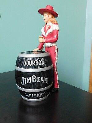 Cowgirl Dressed in Red w/Whiskey Barrel, Jim Beam Barware
