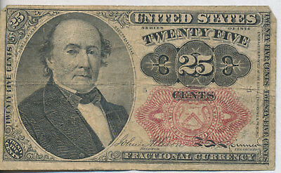 1874 Twenty-Five Cent Fractional Currency Note **fifth Issue** Free Shipping!