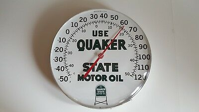"Vintage 1960's Quaker State Motor Oil Gas Station 12"" Metal Thermometer Sign"