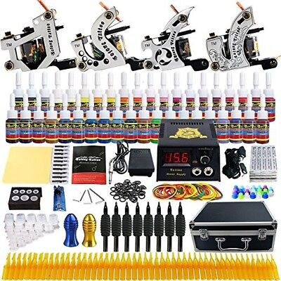 Solong Tattoo Complete Tattoo Kit 4 Pro Machine 54 Inks Carry Case Box TK459 NEW