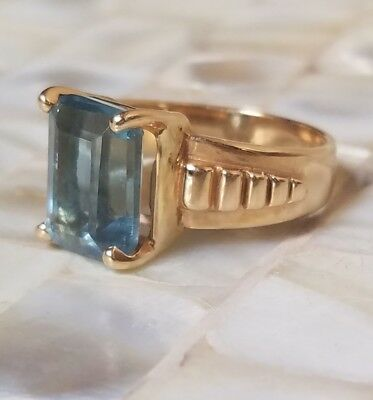 Antique 22k Solid Yellow Gold London Blue Topaz Art Deco / Nouveau Estate Ring 7