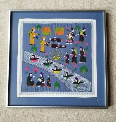 Folk Art Embroidery Textile Framed Stitched Hmong Story Cloth Tapestry 13-1/2""