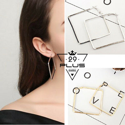 Fashion White Gold Plated Plain 50mm Large Square Hoop Earrings Party Jewellery
