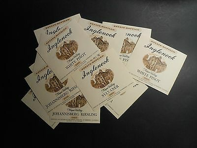 "12 VTG WINE BOTTLE LABELS ""INGLENOOK WHITE PORT, SYLVANER & RIESLING"" 4 of each"