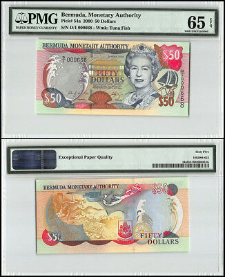 Bermuda 50 Dollars, 2000, P-54a, Queen Elizabeth II, Low Serial # 000668, PMG 65