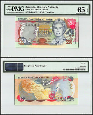 Bermuda 50 Dollars, 2000, P-54a, Queen Elizabeth II, Low Serial # 000731, PMG 65