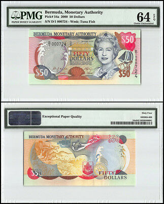 Bermuda 50 Dollars, 2000, P-54a, Queen Elizabeth II, Low Serial # 000724, PMG 64