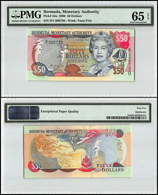 Bermuda 50 Dollars, 2000, P-54a, Queen Elizabeth II, Low Serial # 000730, PMG 65