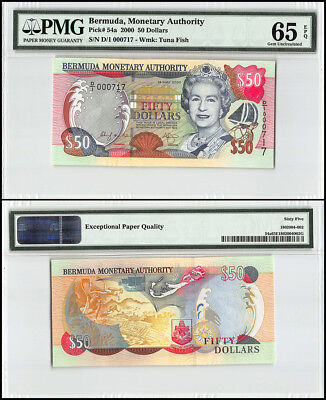 Bermuda 50 Dollars, 2000, P-54a, Queen Elizabeth II, Low Serial # 000717, PMG 65