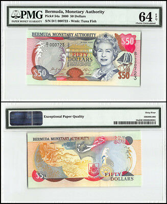 Bermuda 50 Dollars, 2000, P-54a, Queen Elizabeth II, Low Serial # 000723, PMG 64