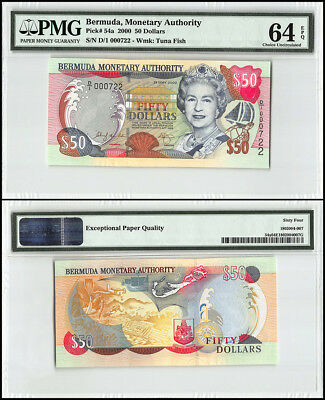 Bermuda 50 Dollars, 2000, P-54a, Queen Elizabeth II, Low Serial # 000722, PMG 64