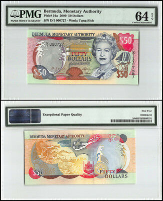 Bermuda 50 Dollars, 2000, P-54a, Queen Elizabeth II, Low Serial # 000727, PMG 64