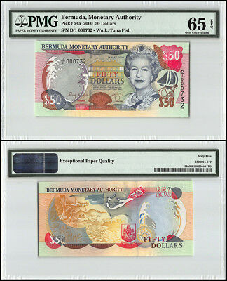 Bermuda 50 Dollars, 2000, P-54a, Queen Elizabeth II, Low Serial # 000732, PMG 65