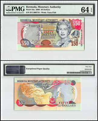 Bermuda 50 Dollars, 2000, P-54a, Queen Elizabeth II, Low Serial # 000718, PMG 64