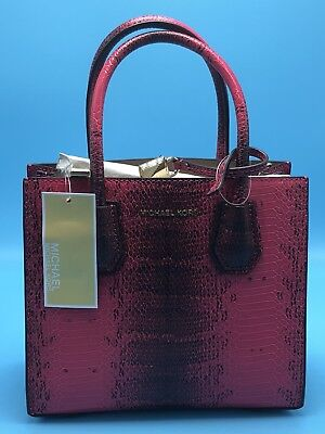 3785842d48ea NWT Michael Kors Mercer Python Embossed Leather Medium Messenger Ultra Pink   278
