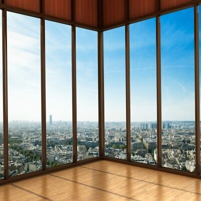 Window View City Building Background Vinyl Photo Studio Prop Show Backdrop 8x8ft