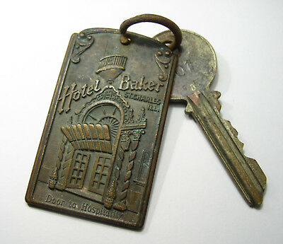 Old Hotel Baker Brass Key With Fob, St. Charles, Il