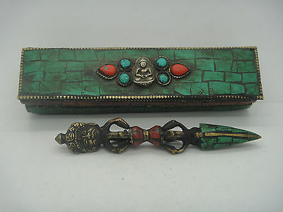 Buddhist Bronze Tibet Vajra Inlay Turquoise Coral Pharaoh Exorcism Statue & Box