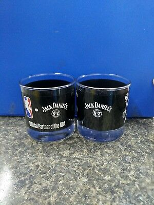 Jack Daniels NBA SET OF TWO (4) WHISKEY GLASSES (NEW IN BOX)