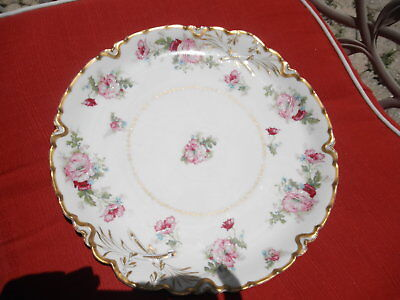 """Haviland Limoges Serving Plate Hand Painted W/Gold Rim 12.5"""" Made in France"""