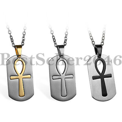 Mens Steel Ancient Egyptian Key of Life Ankh Cross Dog Tag Pendant Necklace 22""