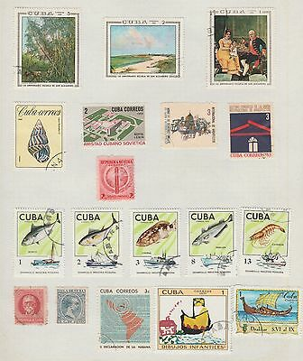 CARIBBEAN ISLANDS Fish, paintings, etc on Old Book Pages (removed to send) #