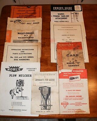 Ag Owner's Manuals Lot--Allis Chalmers,ottawa,massey Ferguson,noble, Wards,case