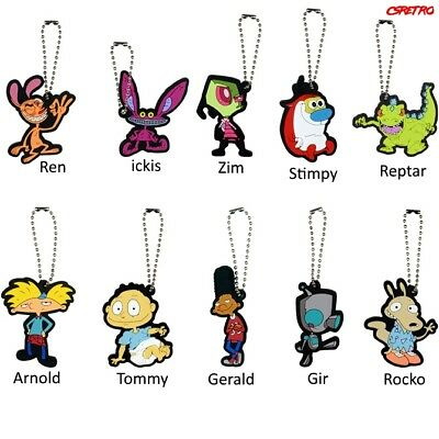 90s Retro Nickelodeon Rubber Keychain Rugrats Hey Arnold Ren & Stimpy + More NEW