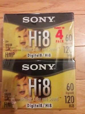 Sony Hi8 Camcorder 8mm Tape Cassettes 120 Minute 4-Pack (P6120HMPR) Brand New