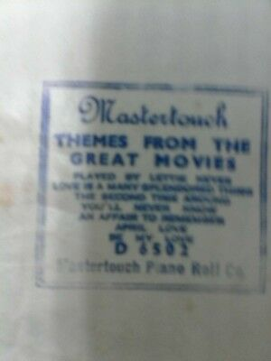 "Pianola roll Mastertouch""Themes from the great movies"" Roll good ,Box end taped,"