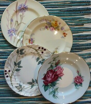"4 Various Makers  ""CRAZY SETS""  Bone China  Side Plates - Made in England"