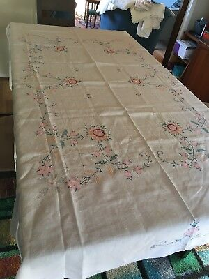 VINTAGE HAND EMBROIDERED CROSS STITCH TABLE CLOTH ROSES ETC WHITE LINEN High Tea