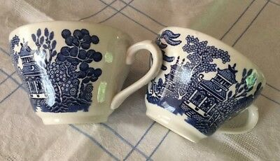 Pair Churchill Willow Pattern Teacups. Made in England.Like New.