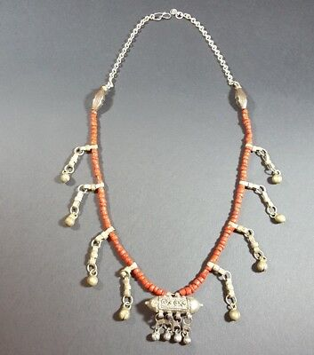 Vintage Antique Old Yemenite Bedouin Tribal Ethnic Red Coral Silver Necklace N27