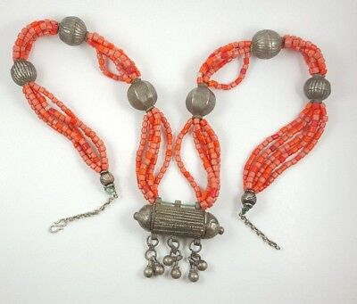 Vintage Antique Old Yemenite Bedouin Tribal Ethnic Red Coral Silver Necklace N24