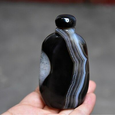 Bottles of decorations 100% agate hand-carved with natural skin  snuff bottle
