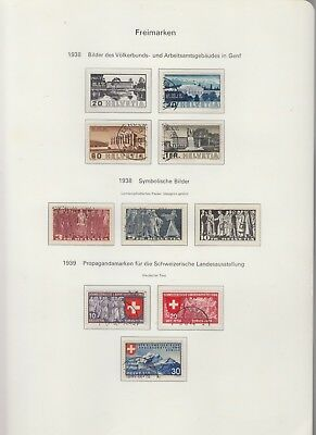 SWITZERLAND 1938-9 On Album page Removed for Shipping VFU (BC)