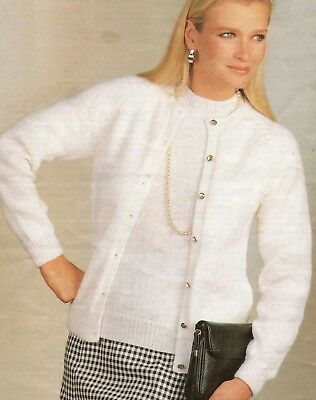 Easy Knit Ladies Classic Twin Set Cardigan Sweater Knitting Pattern