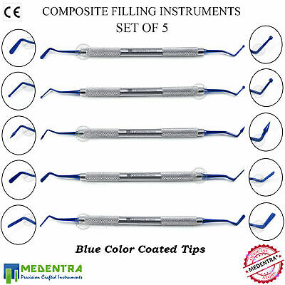 5PCS Dental Composite Filling Amalgam Flat Plastic Ball Burnisher Instruments CE