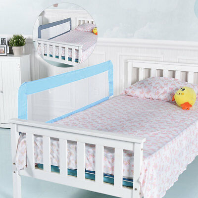 150CM Folding Toddler Kids Safety Bed Rail Infant Protection Guard Blue & Gray