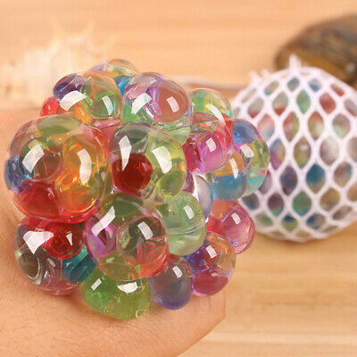 Kid Rainbow LED Squeeze Stress Relief Mesh Squish Ball Grape ADHD Fidget Toy