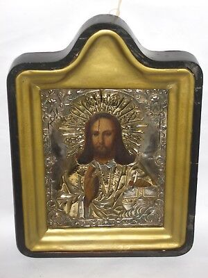 Antique 19c Russian Orthodox Hand painted icon Christ Pantocrator in brass oklad