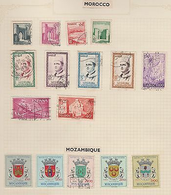 MOROCCO & MOZAMBIQUE On Album Page, Removed for Postage #