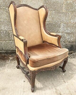 Rare, Leather Wingback French Antique Chair, Oak