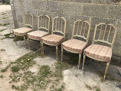 X5 Napoleon III Chairs, Original French Antique, Painted, Dining