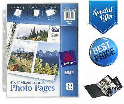"""Avery 40-Photos Pages 4"""" X 6"""" 10-Pack for 3-Ring Binder Sleeves Acid Free"""