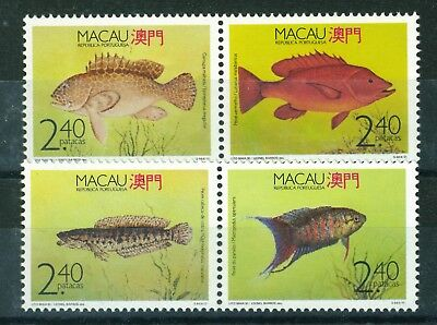 Macau 1990 Fish full set of stamps. Stamps are in two pairs. Mint never hinged.